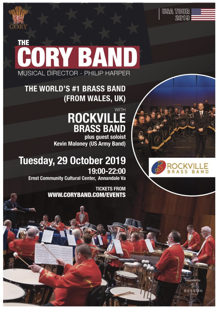 Poster for October 29, 2019 Concert featuring The Cory Band and Rockville Brass Band at the Ernst Community Cultural Center in Annandale, VA